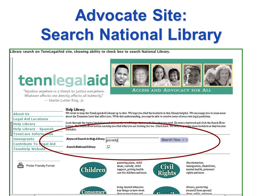 Advocate Site: Search National Library