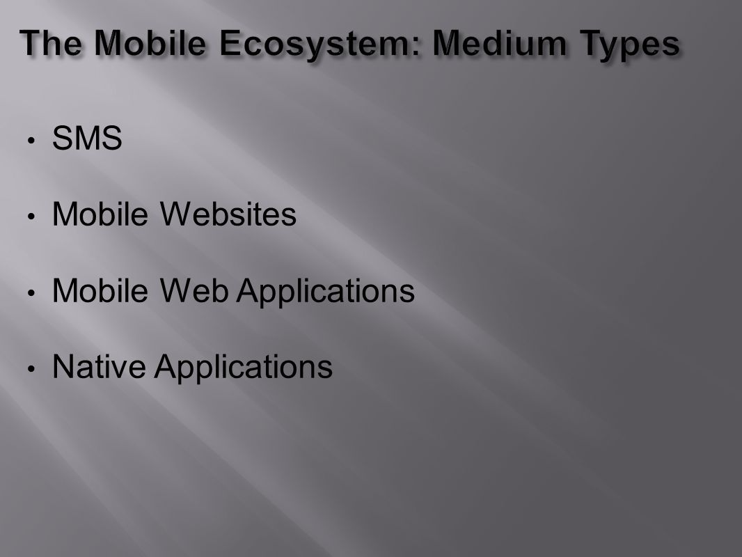 SMS Mobile Websites Mobile Web Applications Native Applications