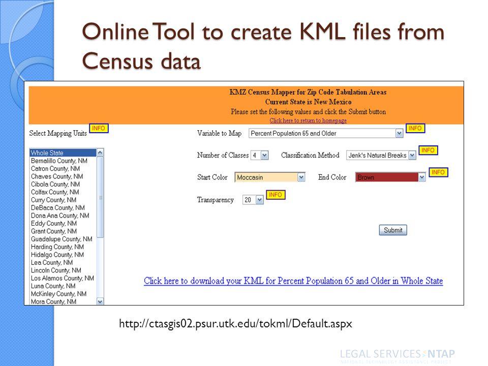 http://ctasgis02.psur.utk.edu/tokml/Default.aspx Online Tool to create KML files from Census data