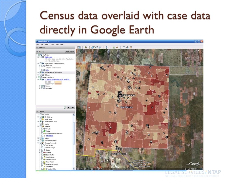 Census data overlaid with case data directly in Google Earth