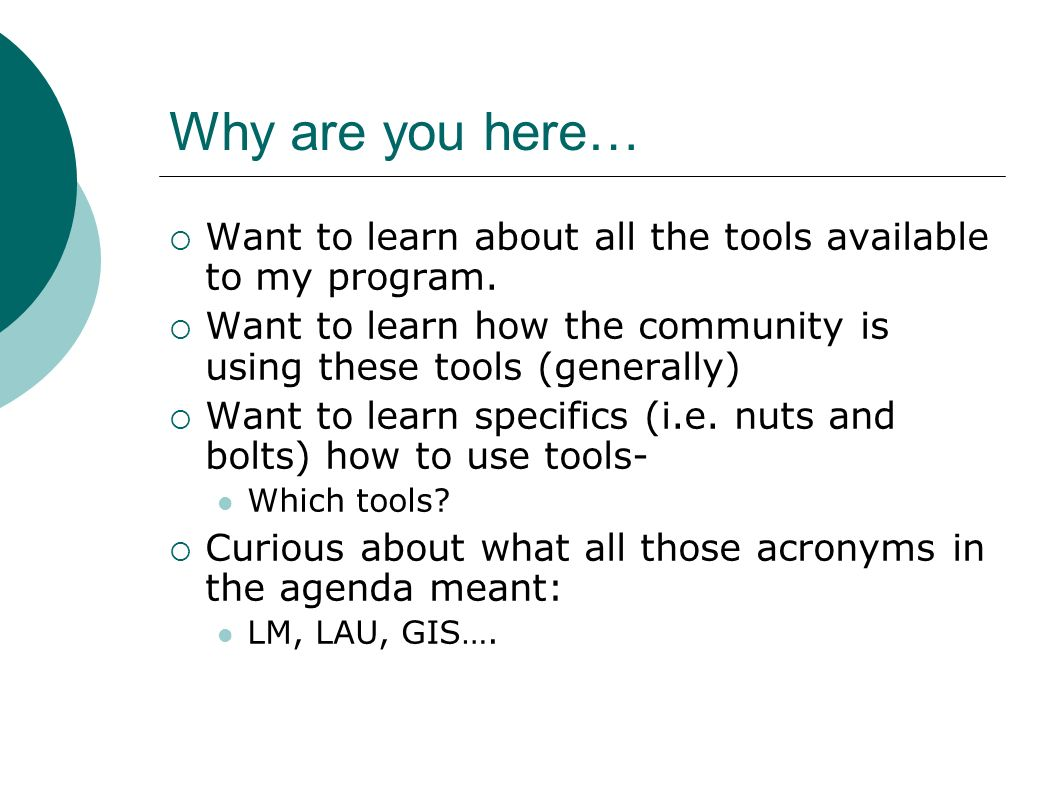 Other Tools Open Source Software Diagram Software: http://live.gnome.org/Dia http://live.gnome.org/Dia Open Source Suites: http://openoffice.orghttp://openoffice.org More Tips Training by NTAP on May 4 http://lsntap.org/50techtips