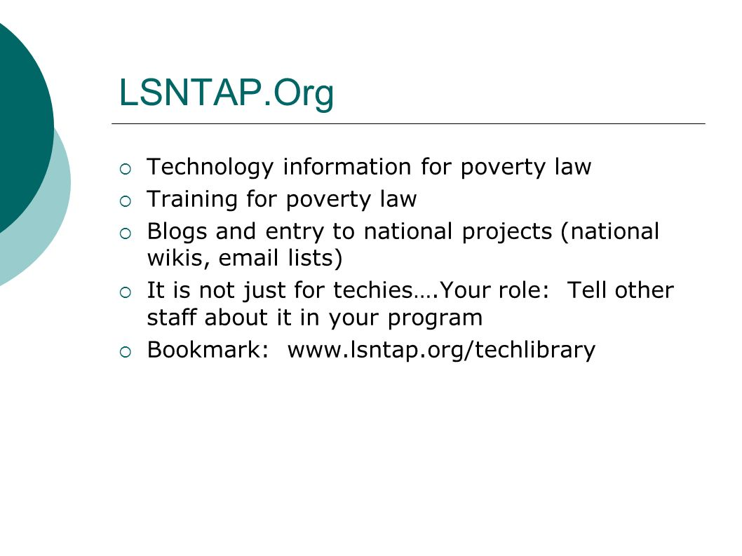 Resources LSNTAP.Org resources on wikisresources Mediawiki resources at http://meta.wikimedia.org/wiki/Help:Contents Upcoming Trainings March 2, 2007