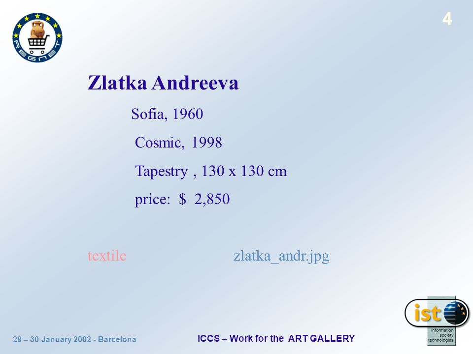 28 – 30 January 2002 - Barcelona ICCS – Work for the ART GALLERY 4 Zlatka Andreeva Sofia, 1960 Cosmic, 1998 Tapestry, 130 х 130 cm price: $ 2,850 text