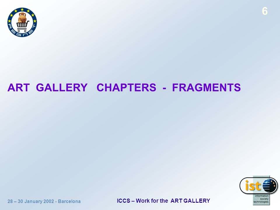 28 – 30 January 2002 - Barcelona ICCS – Work for the ART GALLERY 6 ART GALLERY CHAPTERS - FRAGMENTS