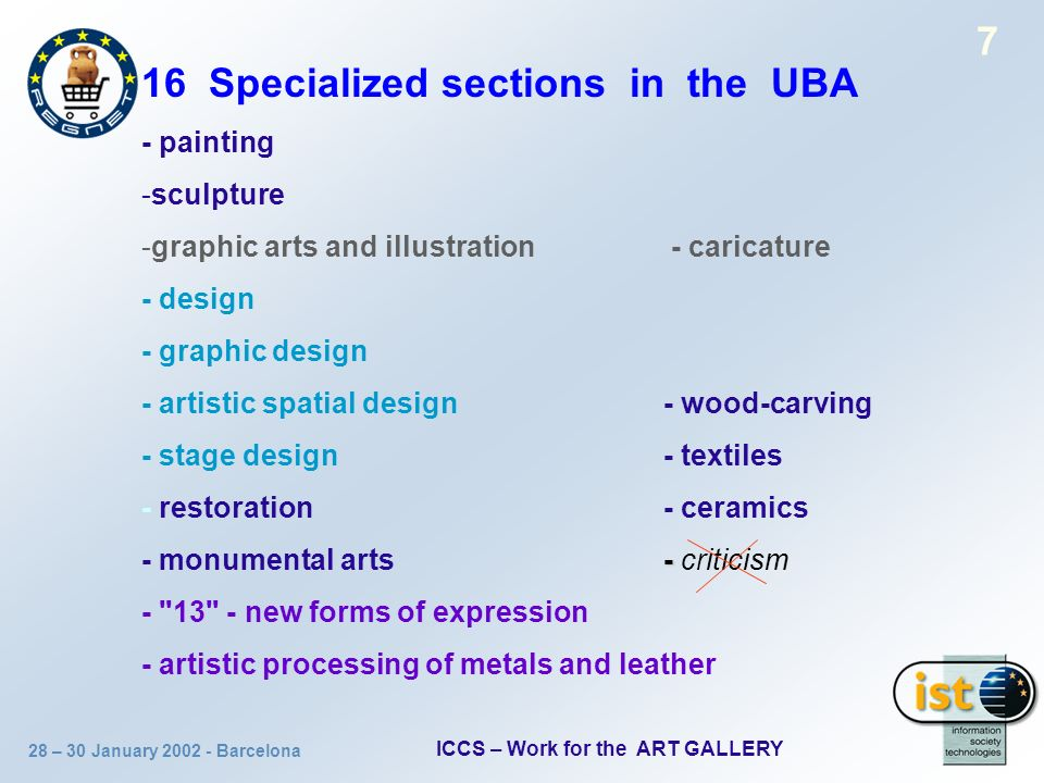 28 – 30 January 2002 - Barcelona ICCS – Work for the ART GALLERY 7 16 Specialized sections in the UBA - painting -sculpture -graphic arts and illustra