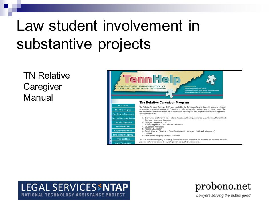 Law student involvement in substantive projects TN Relative Caregiver Manual