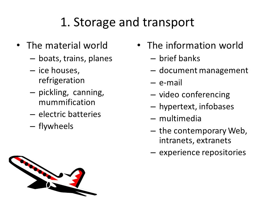 1. Storage and transport The material world – boats, trains, planes – ice houses, refrigeration – pickling, canning, mummification – electric batterie