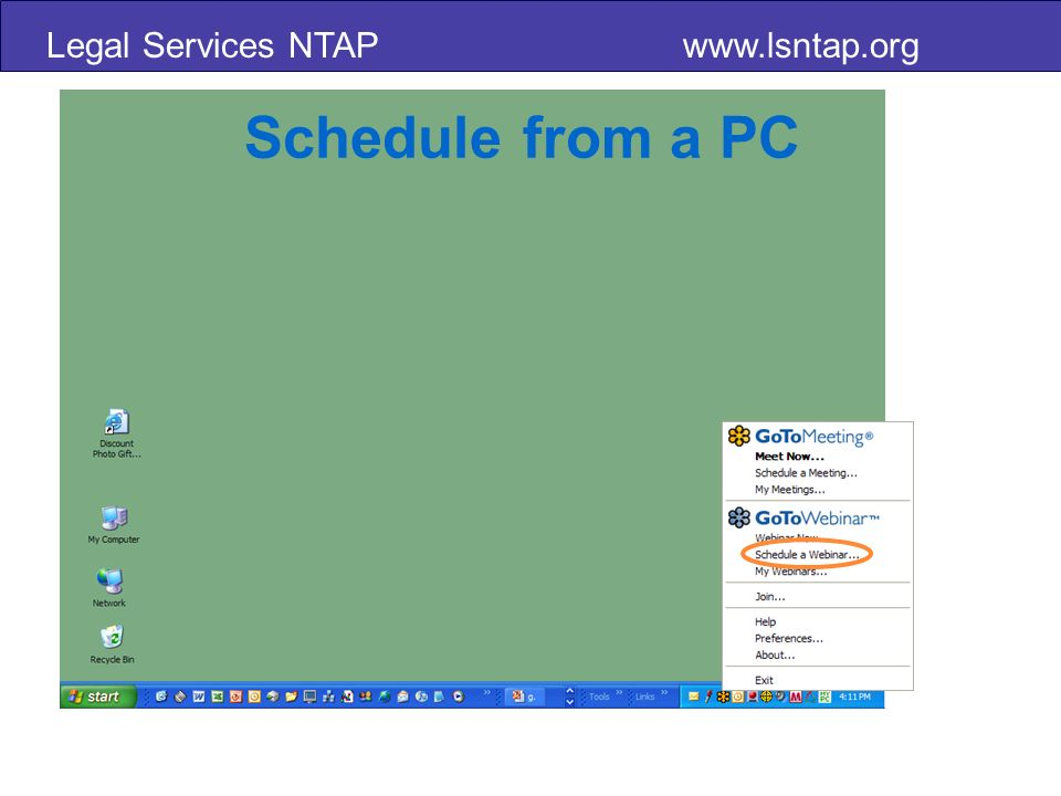 Legal Services NTAP   Schedule from a PC