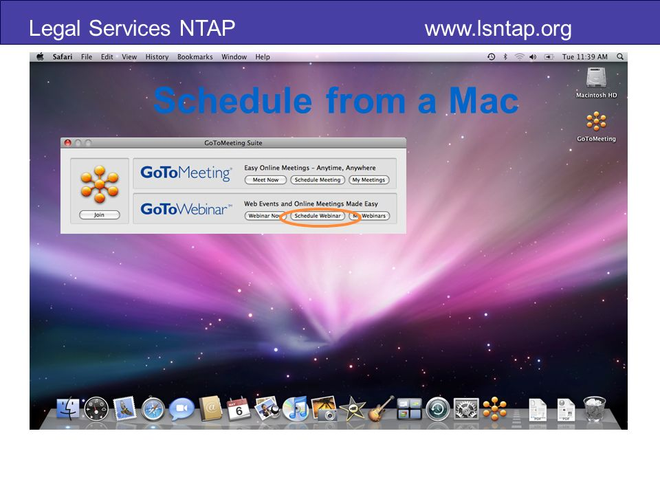 Legal Services NTAP www.lsntap.org Schedule from a Mac