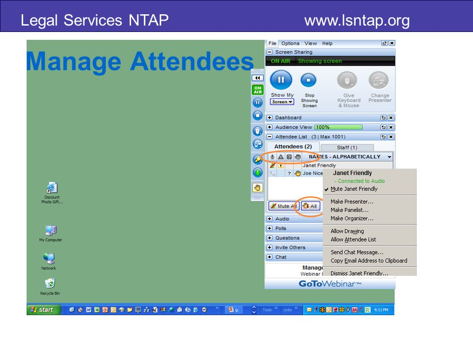 Legal Services NTAP www.lsntap.org Manage Attendees
