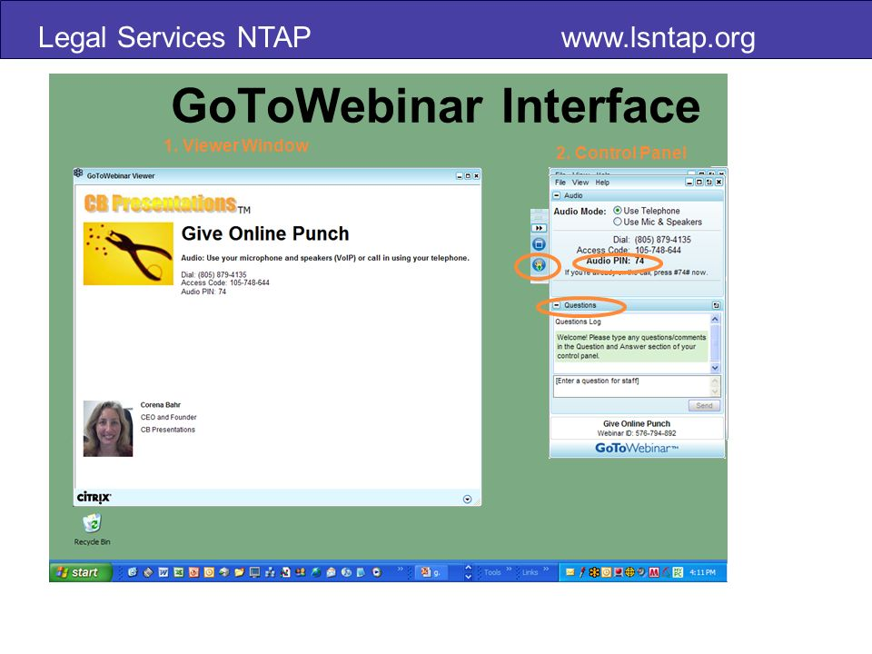 Legal Services NTAP   GoToWebinar Interface 1. Viewer Window 2. Control Panel