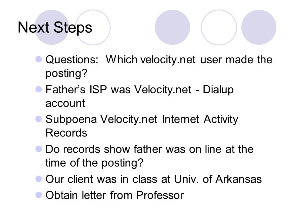 Next Steps Questions: Which velocity.net user made the posting.