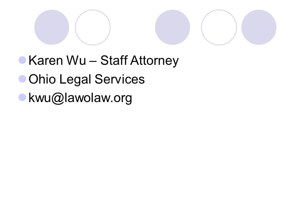 Karen Wu – Staff Attorney Ohio Legal Services