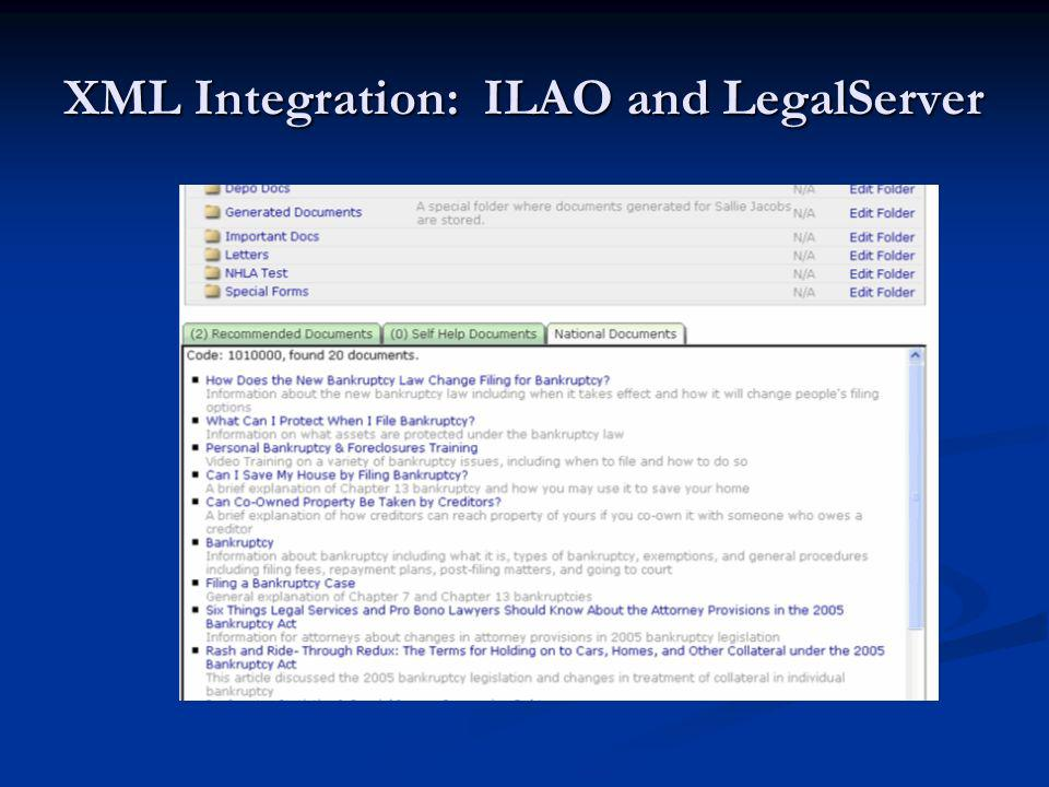 XML Integration: ILAO and LegalServer