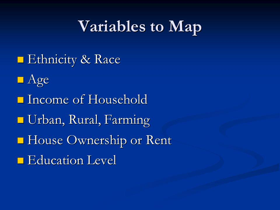 Variables to Map Ethnicity & Race Ethnicity & Race Age Age Income of Household Income of Household Urban, Rural, Farming Urban, Rural, Farming House Ownership or Rent House Ownership or Rent Education Level Education Level