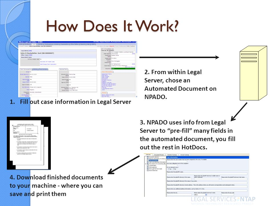 How Does It Work. 1.Fill out case information in Legal Server 2.