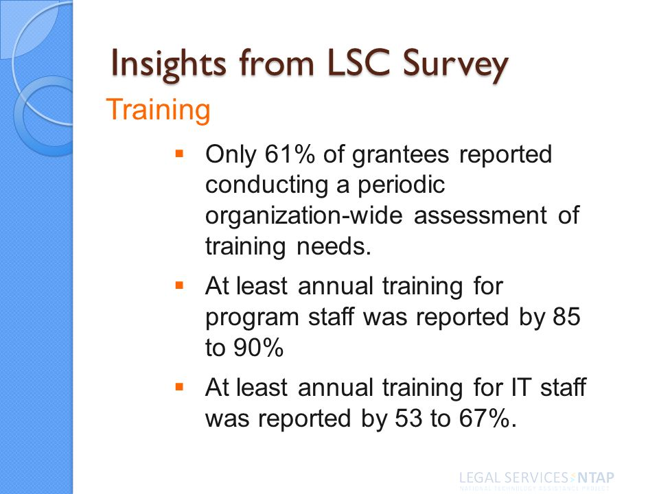 Insights from LSC Survey Training Only 61% of grantees reported conducting a periodic organization-wide assessment of training needs. At least annual