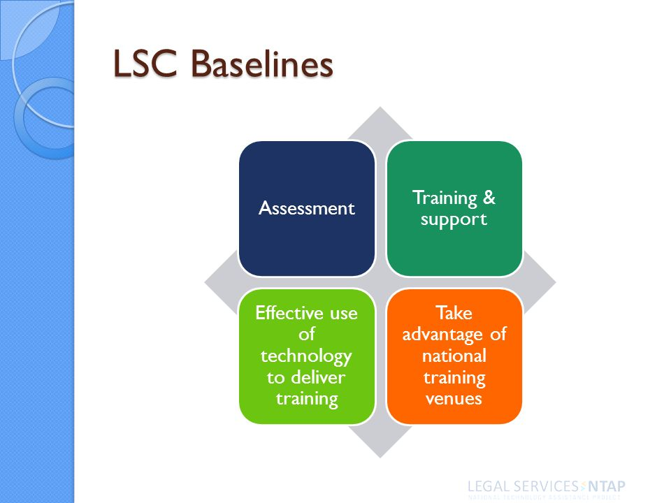 LSC Baselines Assessment Training & support Effective use of technology to deliver training Take advantage of national training venues