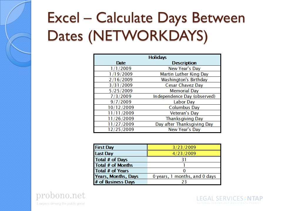 Excel – Calculate Days Between Dates (NETWORKDAYS)