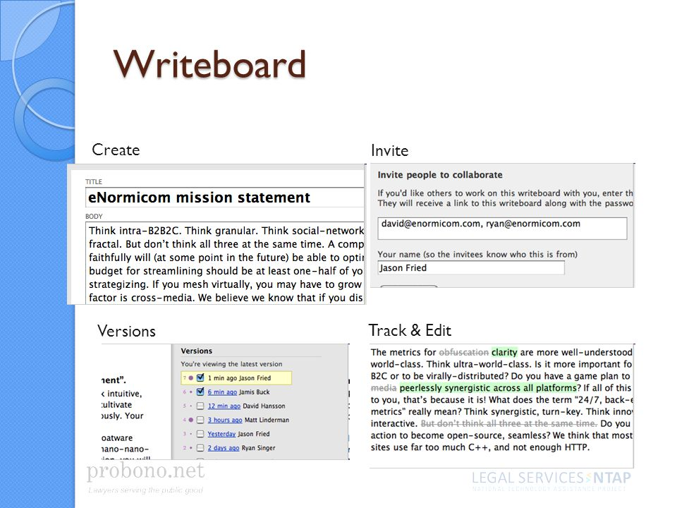 Writeboard Create Invite Versions Track & Edit