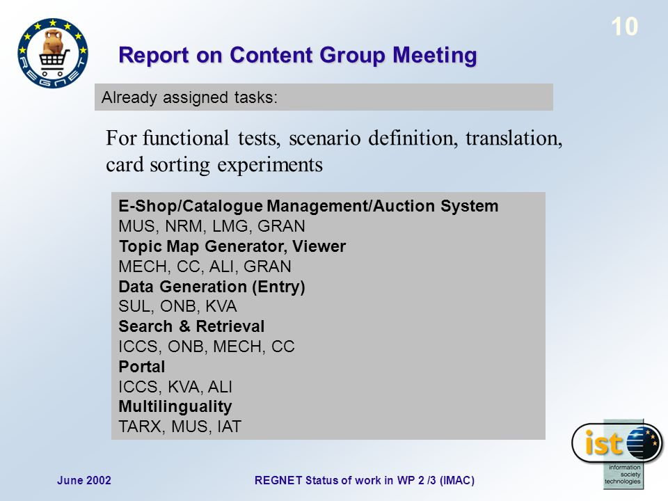 June 2002REGNET Status of work in WP 2 /3 (IMAC) 10 Report on Content Group Meeting Already assigned tasks: E-Shop/Catalogue Management/Auction System MUS, NRM, LMG, GRAN Topic Map Generator, Viewer MECH, CC, ALI, GRAN Data Generation (Entry) SUL, ONB, KVA Search & Retrieval ICCS, ONB, MECH, CC Portal ICCS, KVA, ALI Multilinguality TARX, MUS, IAT For functional tests, scenario definition, translation, card sorting experiments