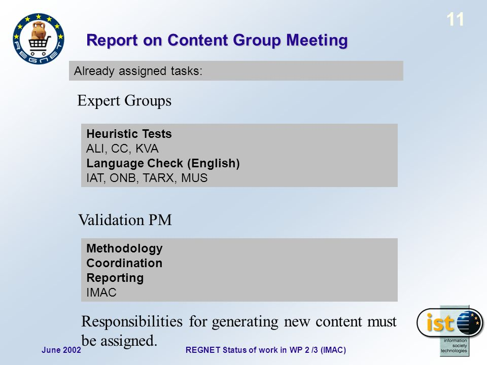 June 2002REGNET Status of work in WP 2 /3 (IMAC) 11 Report on Content Group Meeting Already assigned tasks: Heuristic Tests ALI, CC, KVA Language Check (English) IAT, ONB, TARX, MUS Expert Groups Validation PM Methodology Coordination Reporting IMAC Responsibilities for generating new content must be assigned.