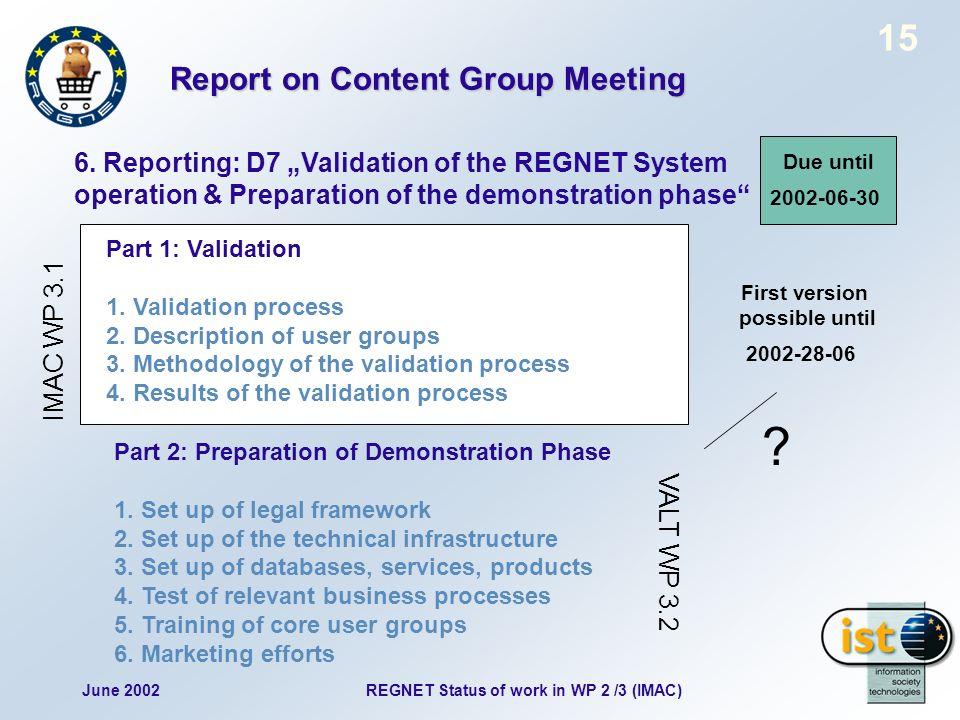 June 2002REGNET Status of work in WP 2 /3 (IMAC) 15 6.