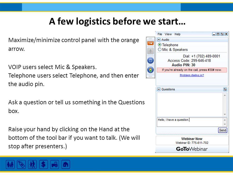 Maximize/minimize control panel with the orange arrow.