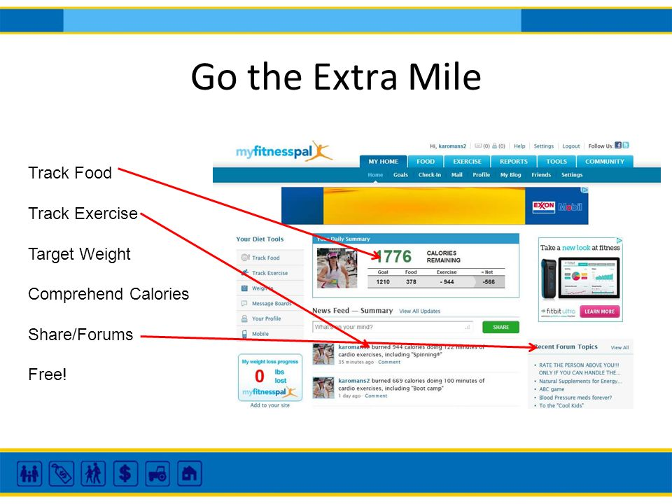 Go the Extra Mile Track Food Track Exercise Target Weight Comprehend Calories Share/Forums Free!
