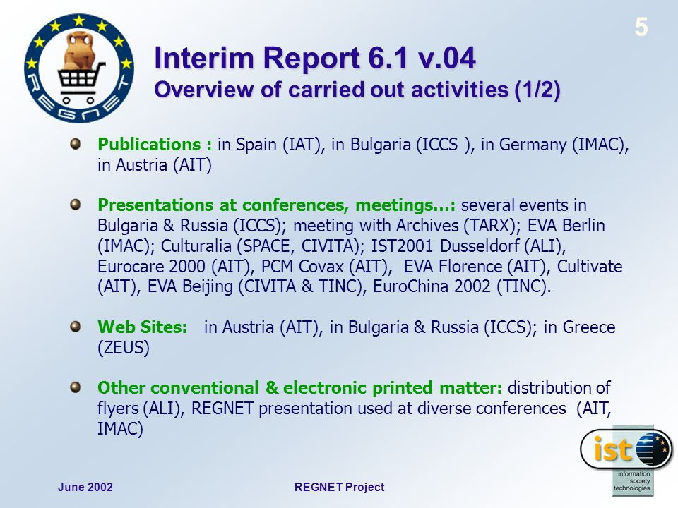 June 2002REGNET Project 5 Interim Report 6.1 v.04 Overview of carried out activities (1/2) Publications : in Spain (IAT), in Bulgaria (ICCS ), in Germ