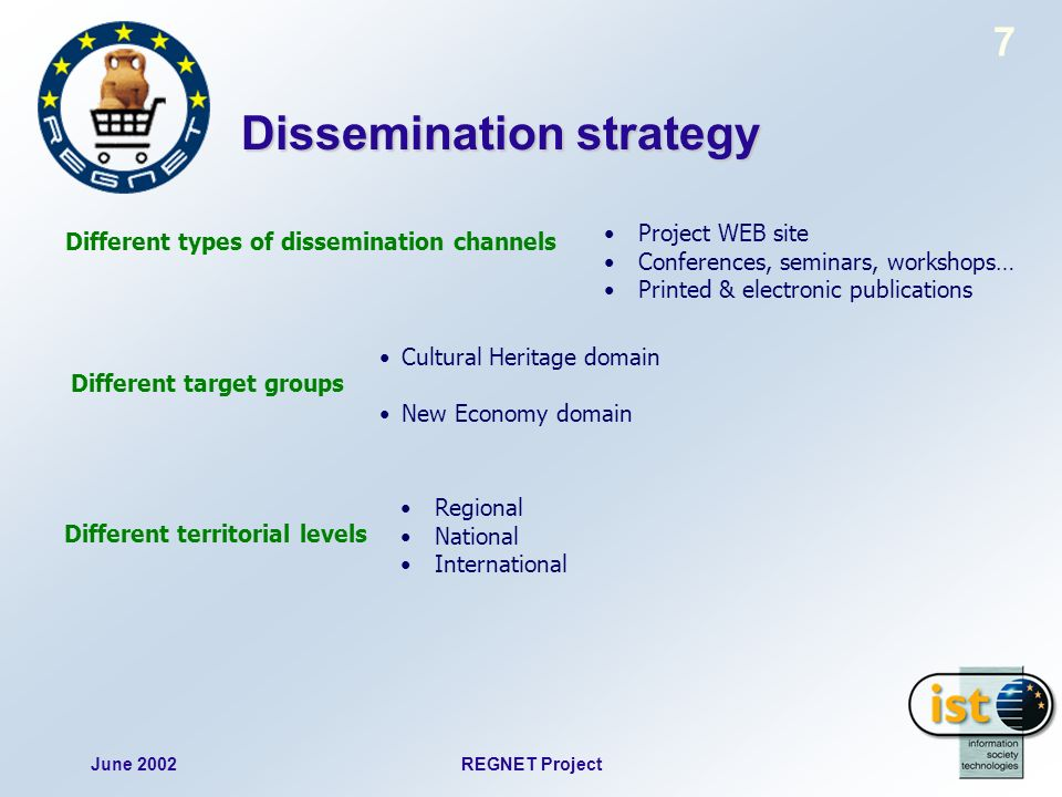 June 2002REGNET Project 7 Dissemination strategy Different types of dissemination channels Different target groups Different territorial levels Projec