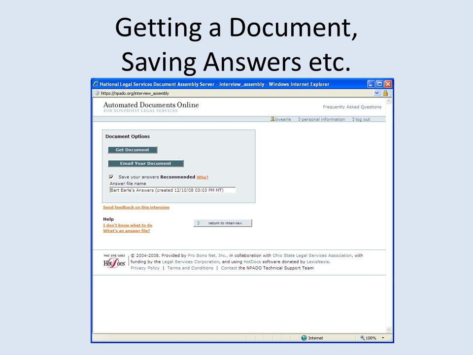 Getting a Document, Saving Answers etc.