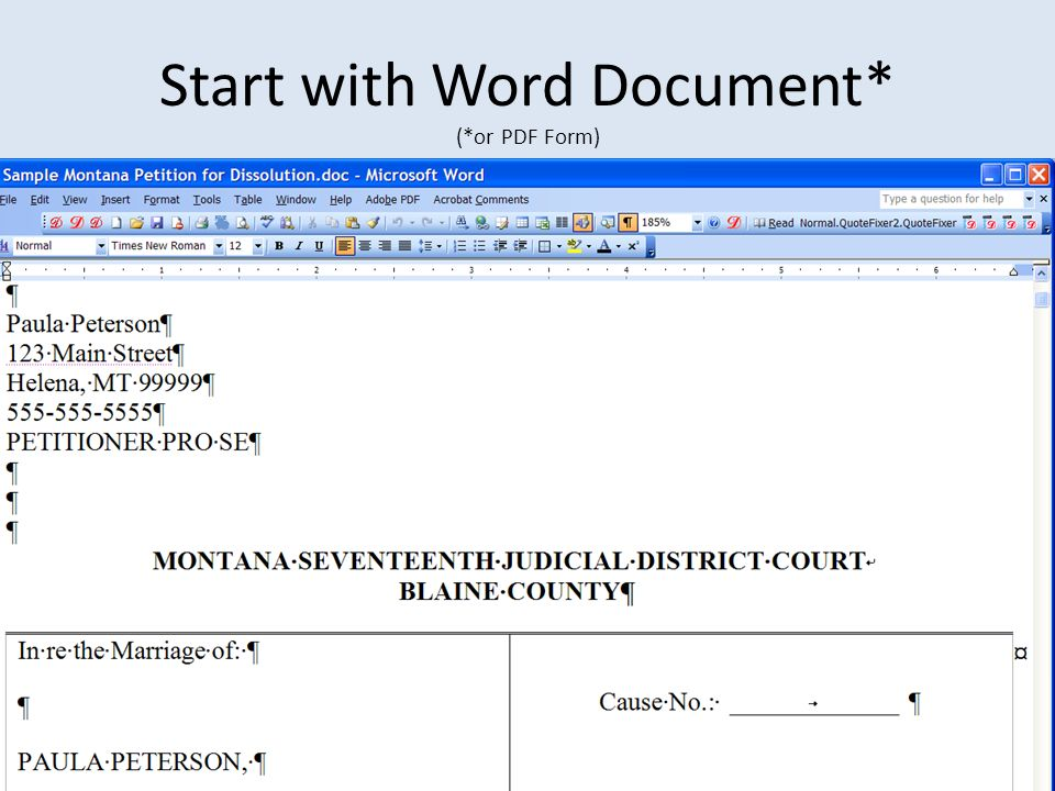 Start with Word Document* (*or PDF Form)
