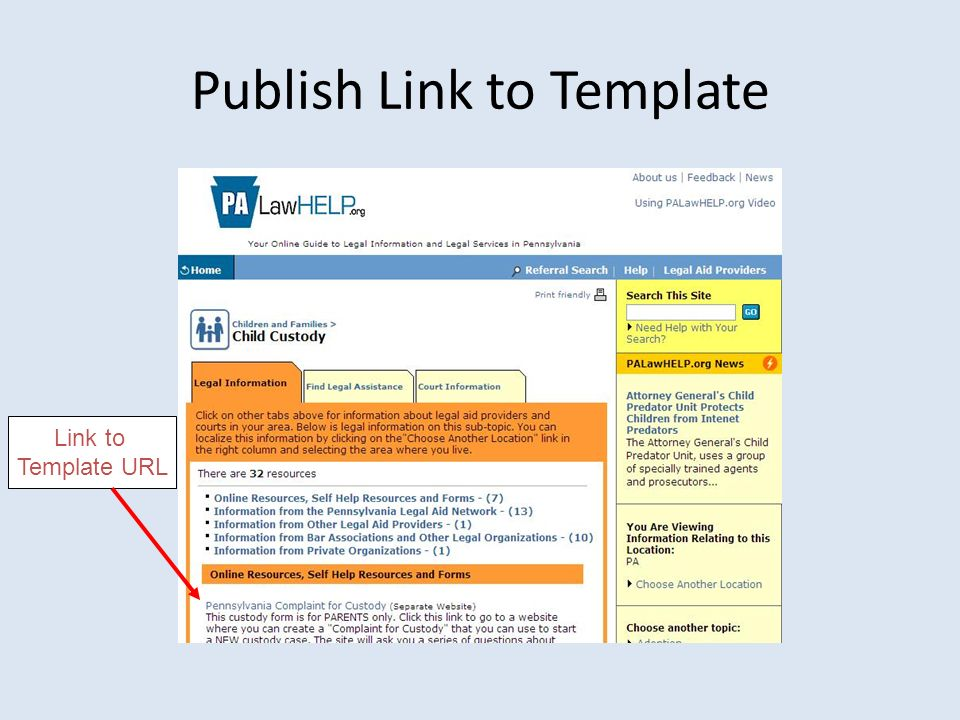 Publish Link to Template Link to Template URL