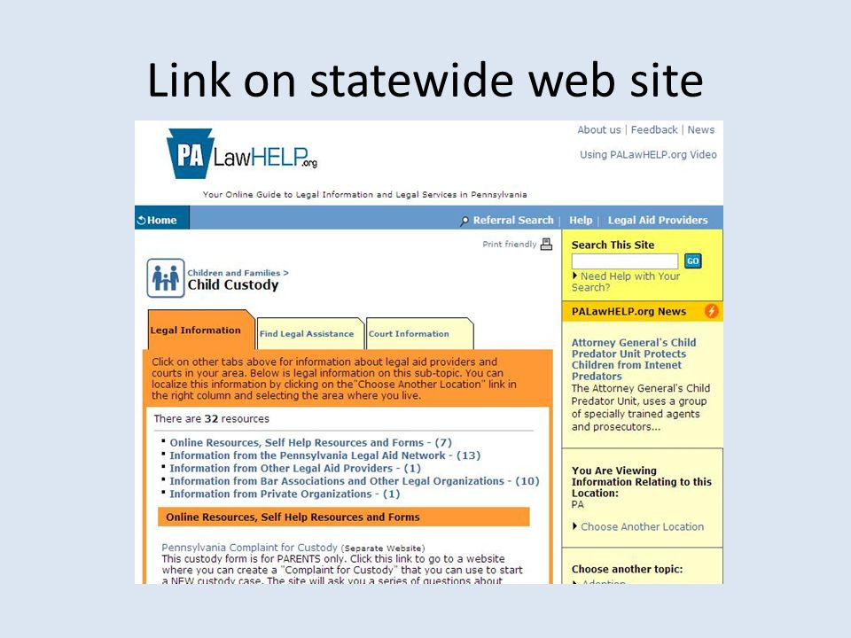 Link on statewide web site