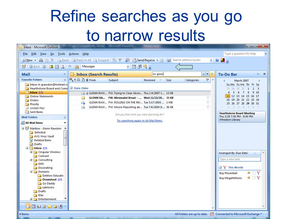 Refine searches as you go to narrow results