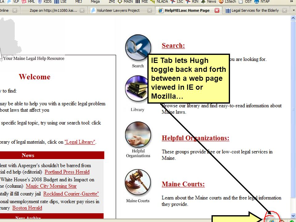 IE Tab lets Hugh toggle back and forth between a web page viewed in IE or Mozilla…