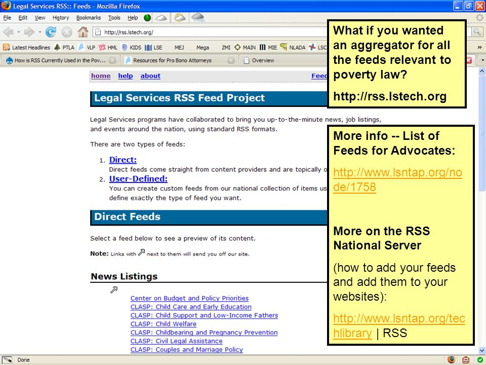 What if you wanted an aggregator for all the feeds relevant to poverty law.