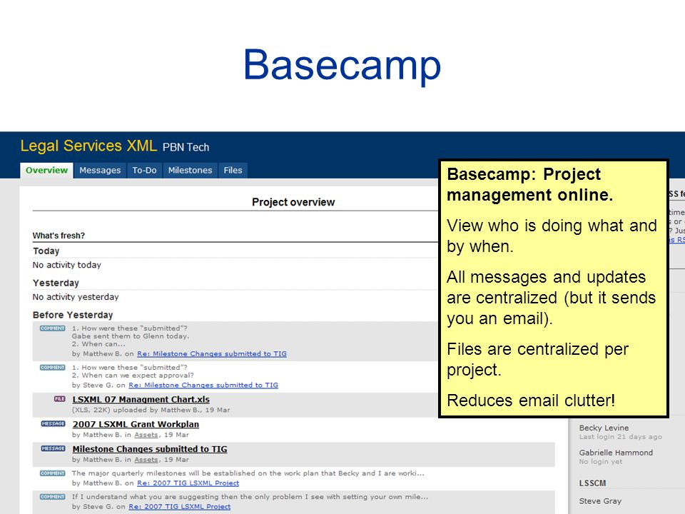 Basecamp Basecamp: Project management online. View who is doing what and by when.