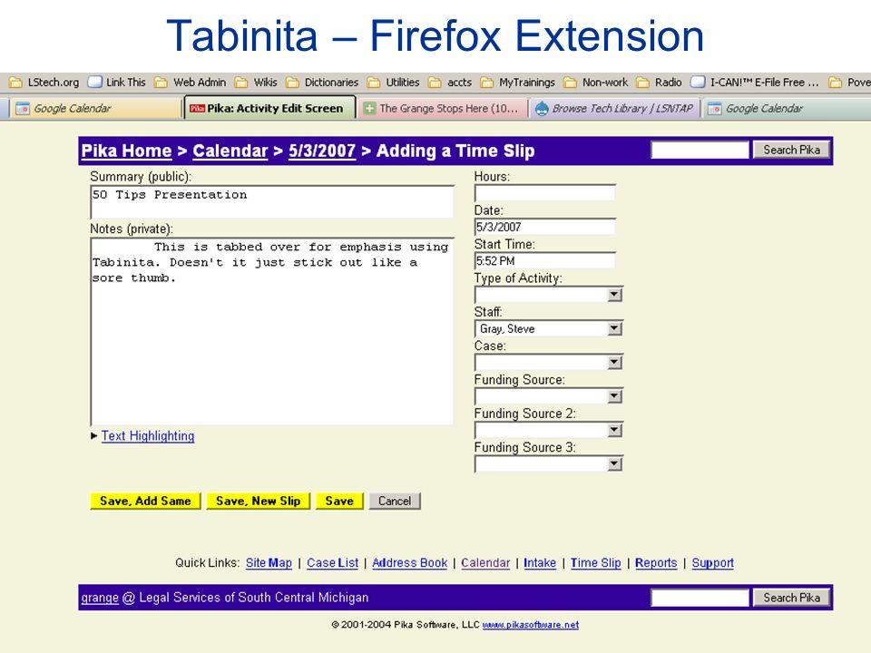 Tabinita – Firefox Extension