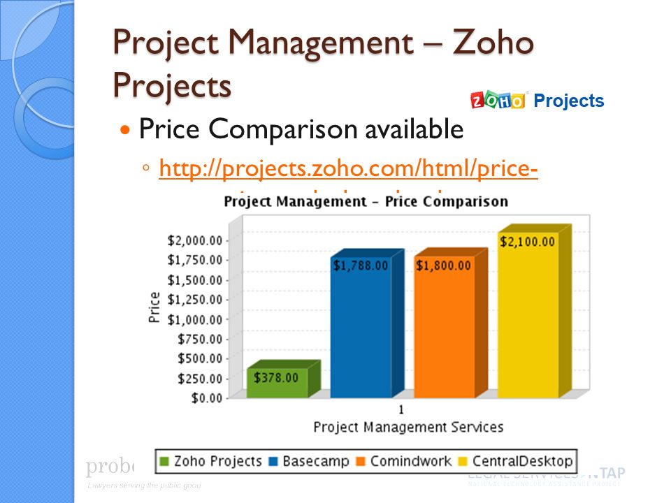Project Management – Zoho Projects Price Comparison available http://projects.zoho.com/html/price- comparison-calculator.html http://projects.zoho.com/html/price- comparison-calculator.html