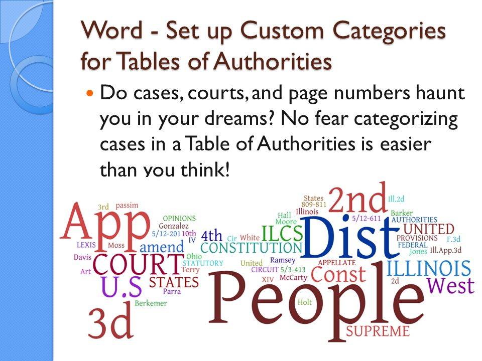 Word - Set up Custom Categories for Tables of Authorities Do cases, courts, and page numbers haunt you in your dreams.