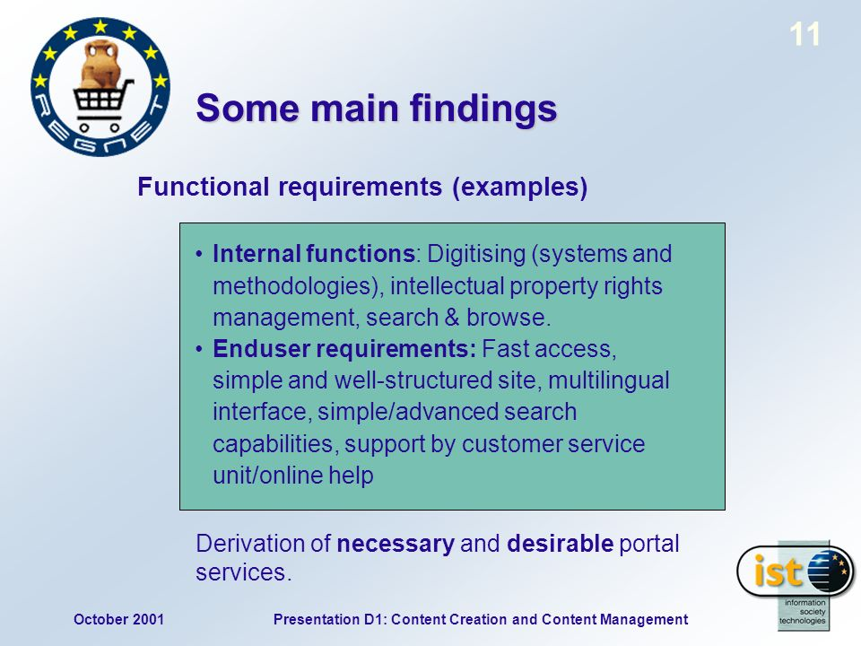 October 2001Presentation D1: Content Creation and Content Management 11 Internal functions: Digitising (systems and methodologies), intellectual property rights management, search & browse.