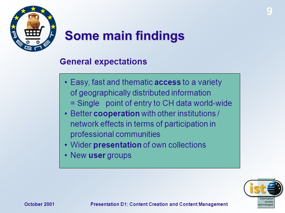 October 2001Presentation D1: Content Creation and Content Management 9 General expectations Easy, fast and thematic access to a variety of geographically distributed information = Single point of entry to CH data world-wide Better cooperation with other institutions / network effects in terms of participation in professional communities Wider presentation of own collections New user groups Some main findings