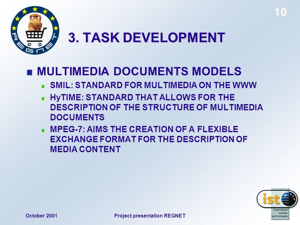 October 2001Project presentation REGNET 10 3. TASK DEVELOPMENT MULTIMEDIA DOCUMENTS MODELS SMIL: STANDARD FOR MULTIMEDIA ON THE WWW HyTIME: STANDARD T