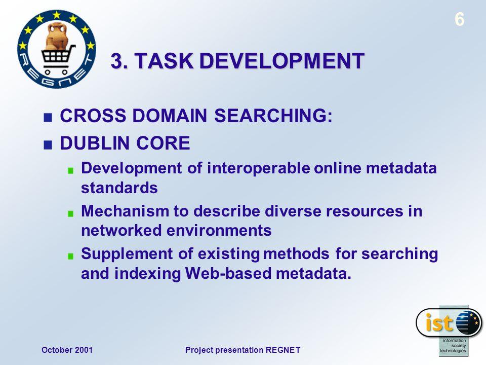 October 2001Project presentation REGNET 6 3. TASK DEVELOPMENT CROSS DOMAIN SEARCHING: DUBLIN CORE Development of interoperable online metadata standar