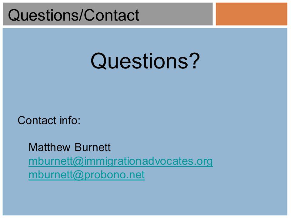 Questions/Contact Questions.