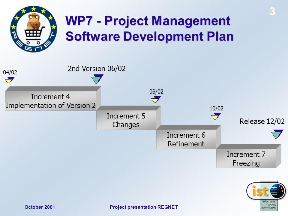 October 2001Project presentation REGNET 3 WP7 - Project Management Software Development Plan Increment 4 Implementation of Version 2 Increment 5 Chang