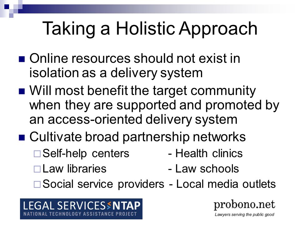 Online resources should not exist in isolation as a delivery system Will most benefit the target community when they are supported and promoted by an access-oriented delivery system Cultivate broad partnership networks Self-help centers- Health clinics Law libraries- Law schools Social service providers - Local media outlets Taking a Holistic Approach