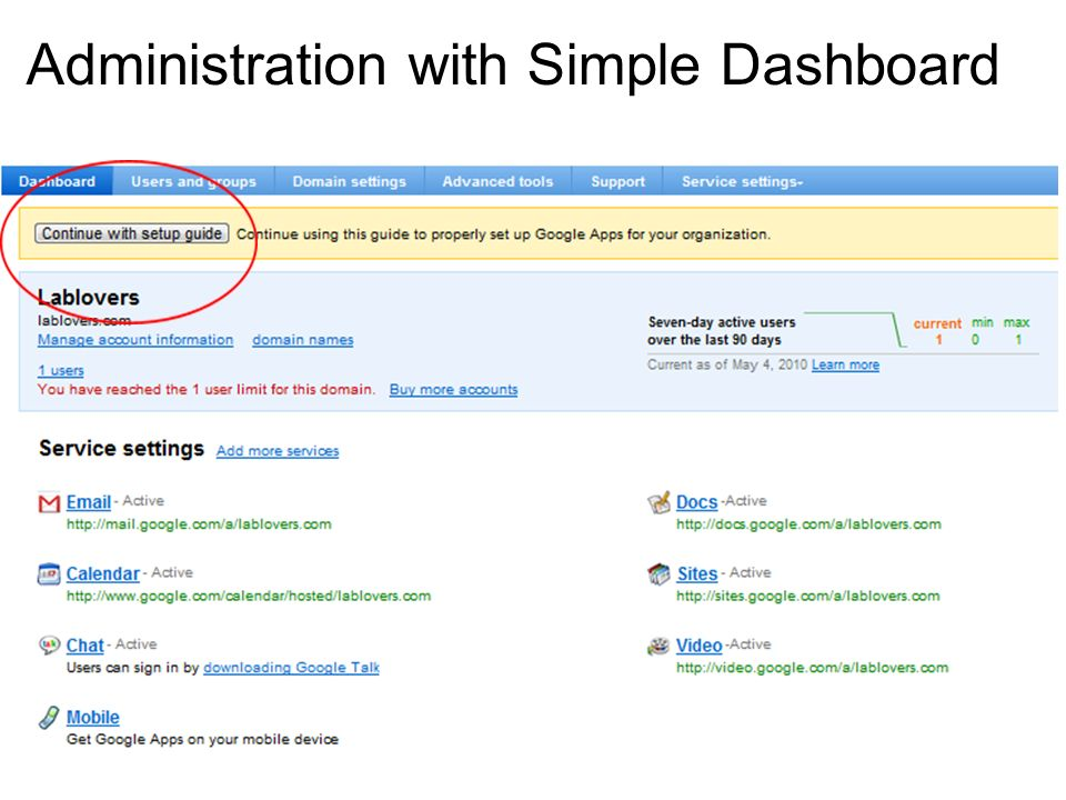 Administration with Simple Dashboard